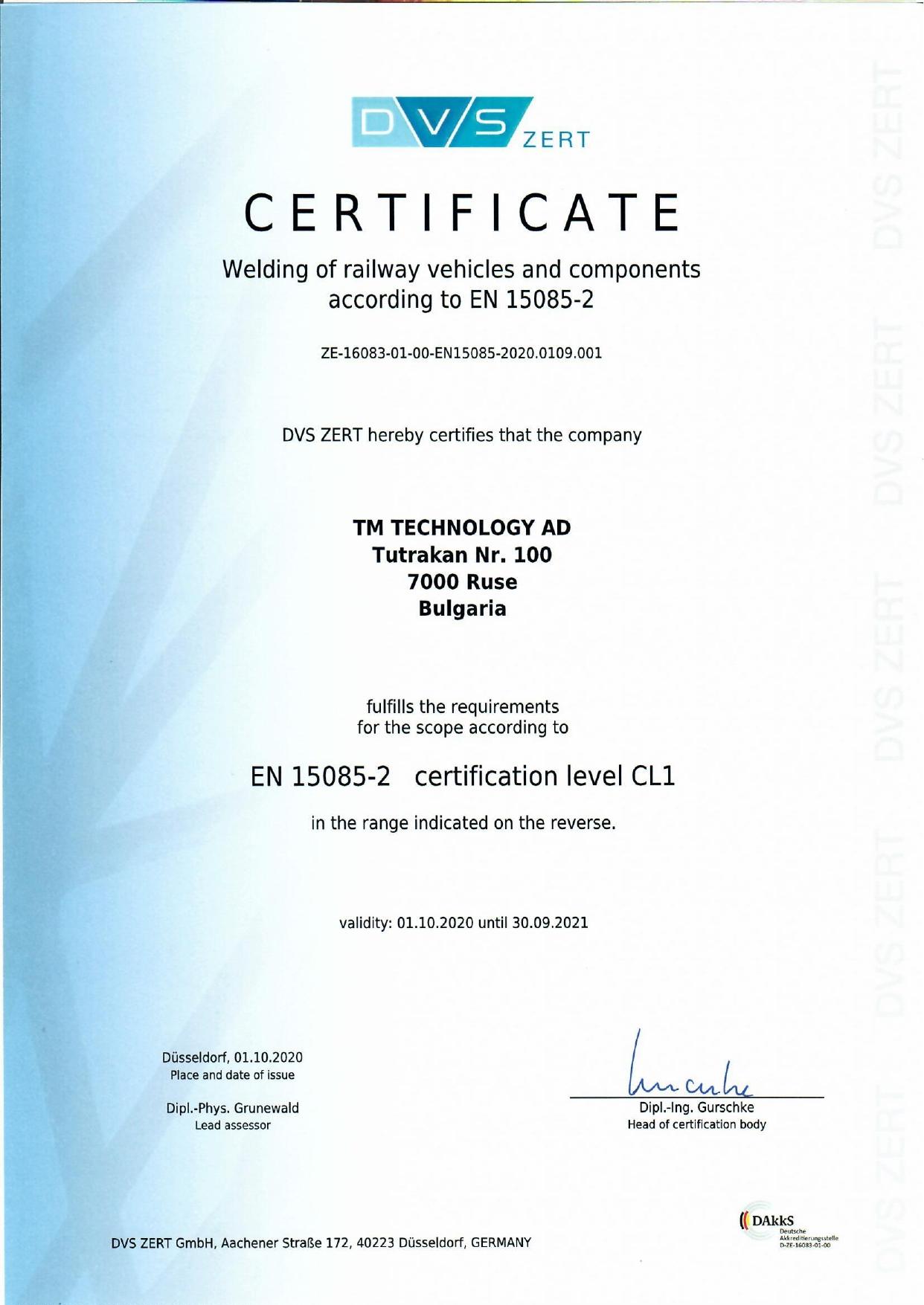 Certificate EN 15085-2